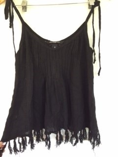 blusa billabong negra con flecos talla s/m