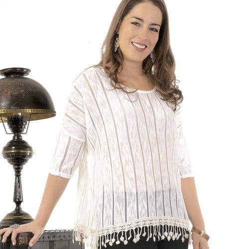 blusa blanca con flecos tallas extras punto tejida