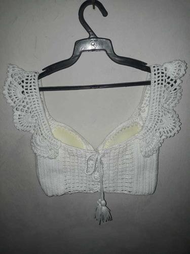blusa blanca crochet de olan