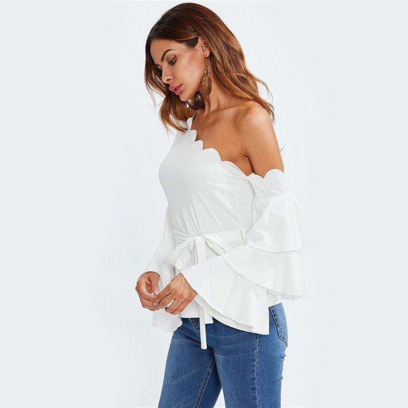 minorista online diseño elegante descuento hasta 60% Blusa Blanca Cuello Mariposa C Hombro Descubierto Y Volantes
