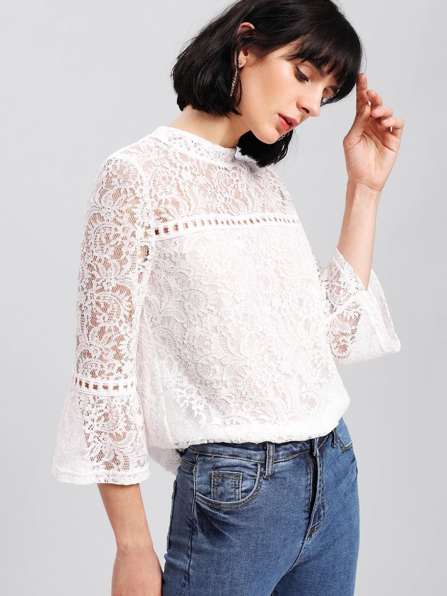 Blusa Blanca Encaje Mujer Importada