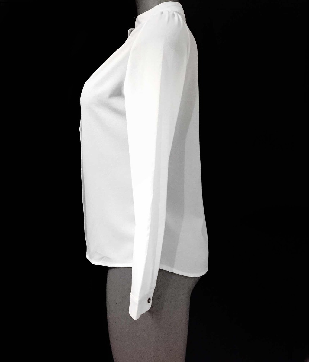 blusa blanca formal elegante verano mangas cuello alto mao. Cargando zoom. ed36538062f