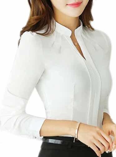 más cerca de Venta caliente 2019 revisa Blusa Blanca Formal Elegante Verano Mangas Cuello Alto Mao