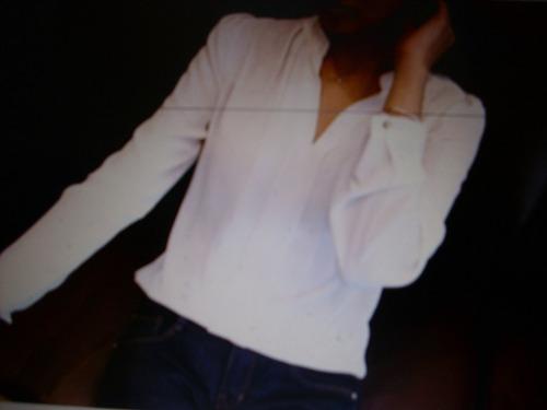 blusa blanca gasa talla l