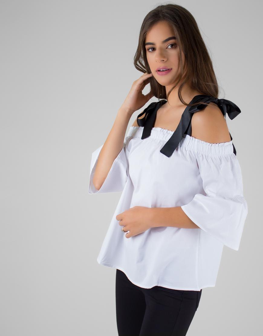 información para fábrica venta en línea Blusa Blanca Hombros Descubiertos