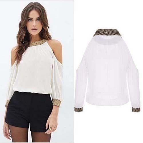 garantía limitada gran colección diseño innovador Blusa Blanca Hombros Descubiertos R389