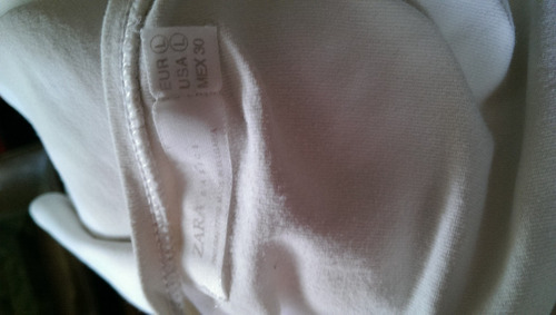 blusa blanca manga larga- talla l- marca zara