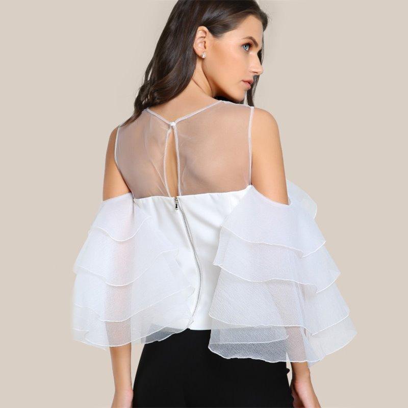 0950071bbe blusa blanca manga volante tres cuartos de organza moda 2018. Cargando zoom.