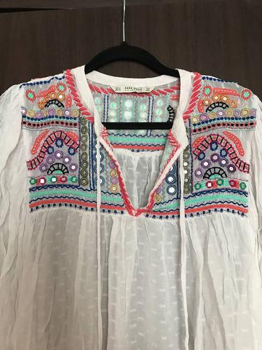 blusa blanca transparente con bordado. marca zara