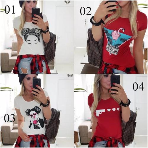 blusa blusinha camiseta t shirt baby look estampada 2899