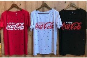 ffbad3adf4 Blusa Blusinha Feminina Coca-cola Enjoe Furadinha Furada