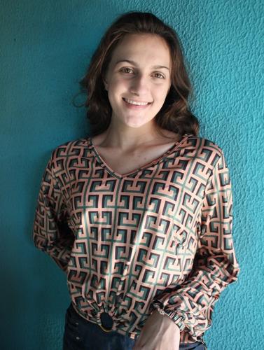 blusa blusinha moda feminina manga longa cropped laço argola