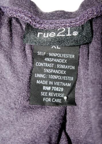blusa bluson strapless con olanes lila talla xl americana