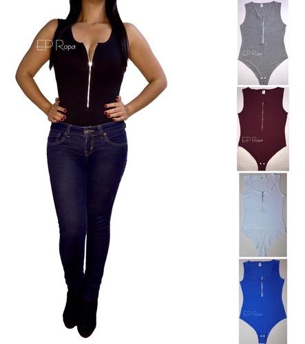 blusa body cremallera escotado mujer licrado bodies moda