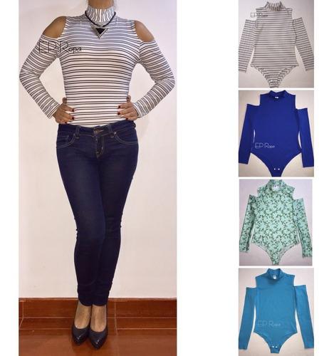 blusa body cuello alto hombros descubiertos moda mujer licra