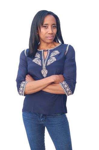 blusa bohemia azul bordada francesa.