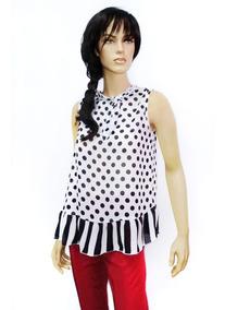 355098506bd4 Blusa Bonita Lunares Sin Mangas Para Dama Rose Fashion