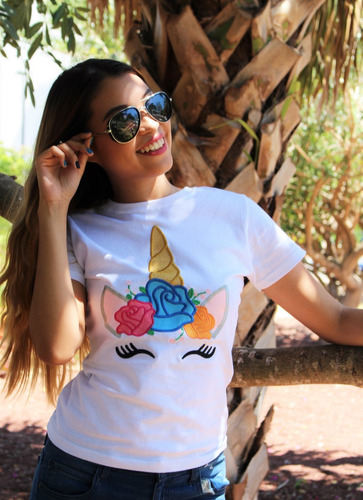 blusa bordada con unicornio, algodón 100%