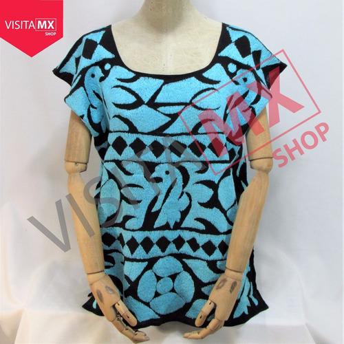 blusa bordado relleno turquesa - 211141