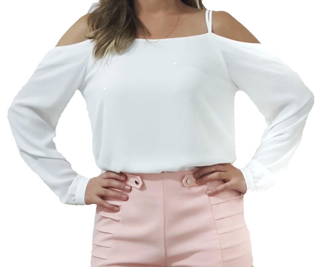 2496431601 blusa branca feminina manga longa ombro detalhes em tiras. Carregando zoom.
