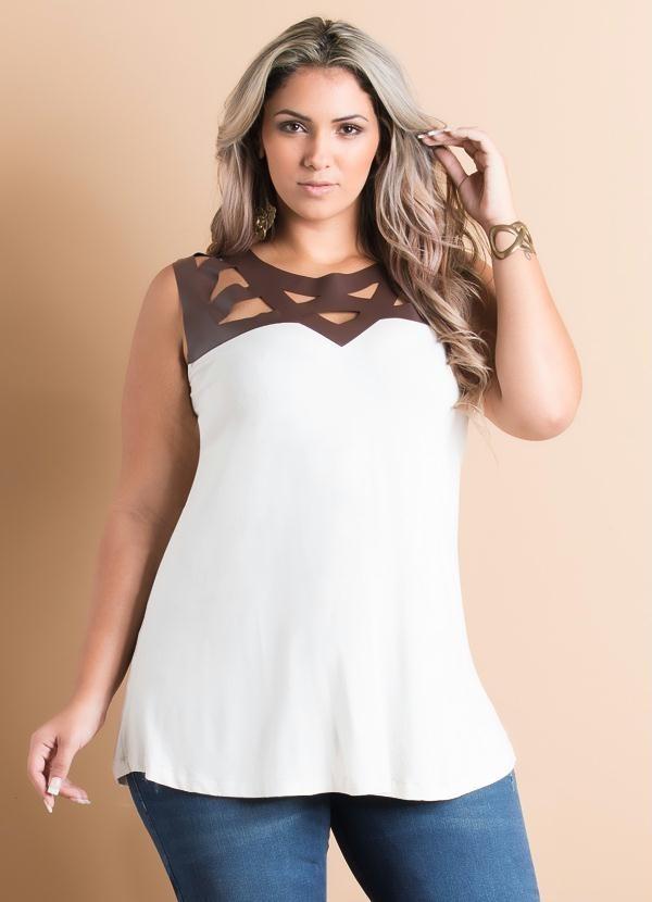 1cd0ccbd8f blusa branca feminina regata off-white festa plus size. Carregando zoom.