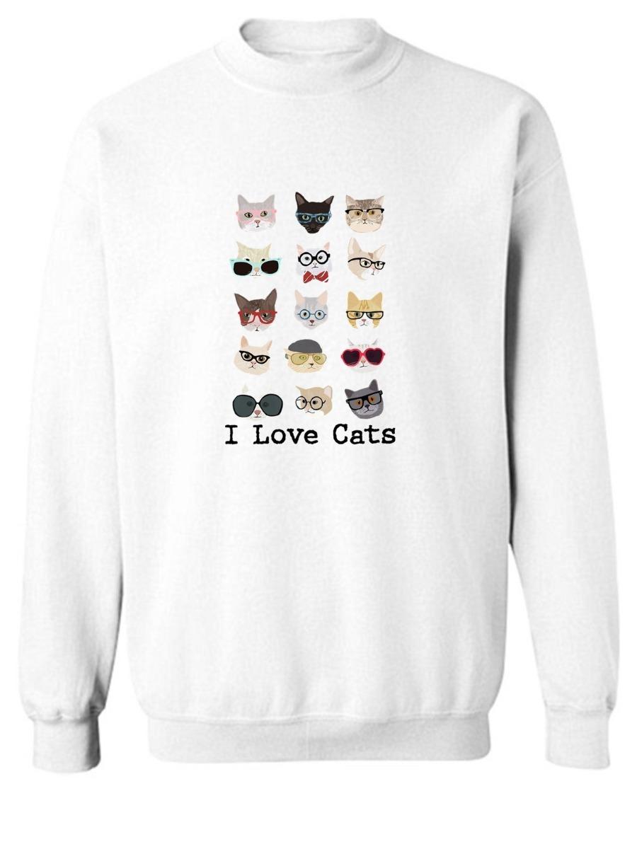 blusa branca moletom casaco i love cats felinos desenho look r 52