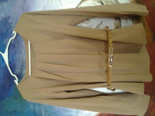 blusa cafe manga larga  con cinturon