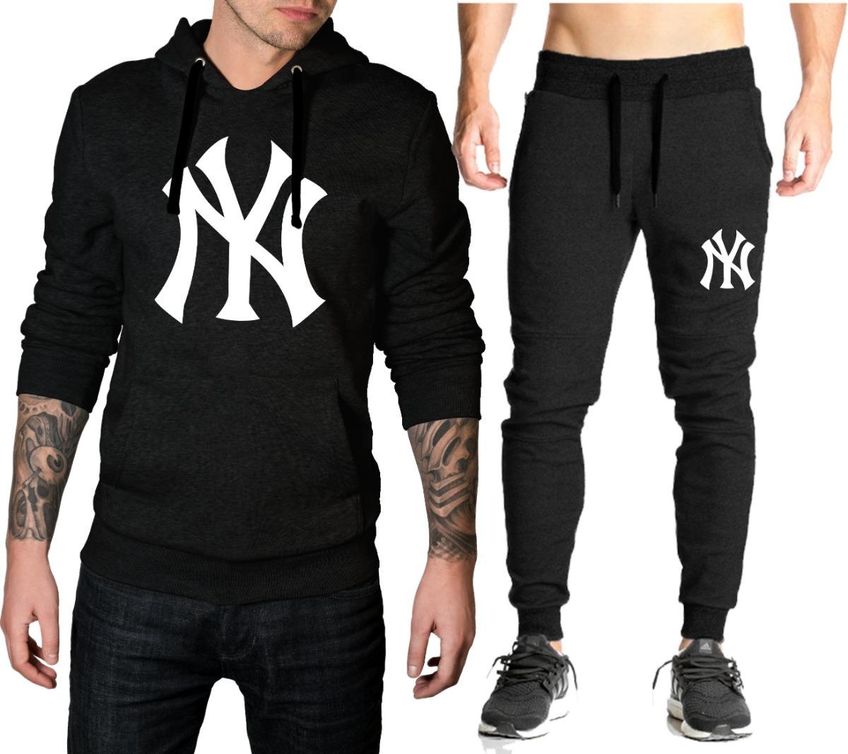 Blusa + Calça Skinny De Moletom New York Ny Capuz E Bolso - R  129 ... b734132c216