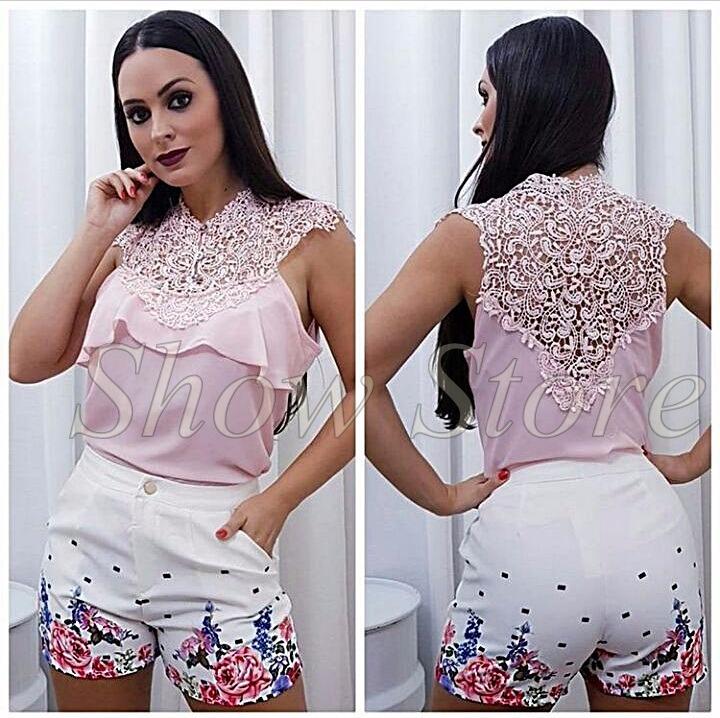 10a65db80 Blusa Camisa Camiseta Bata Feminina Detalhe Guipir 2815 - R  34