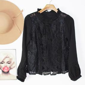 b0f8f4fca Blusa Camisa Camiseta Feminina Luxo Alfaiataria Renda 2521