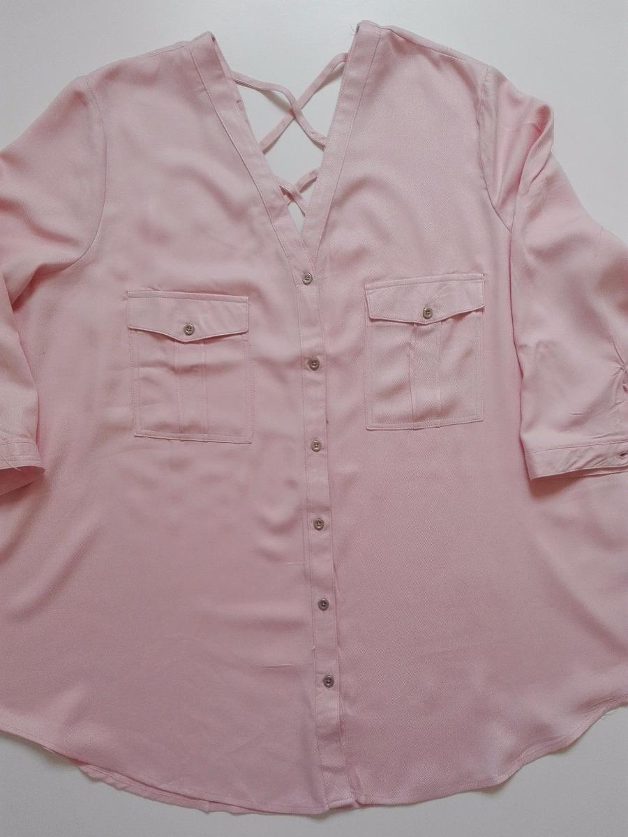 3997a0c7a9f1e Blusa Camisa Camisola Escote V Espalda Tiras 3 4 Talle Grand -   650 ...