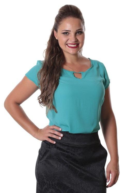 Blusa Camisa Decote Vazado Tecido Chiffon Moda Evangelica R  77 c949da3472d25