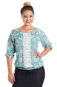 898d87394e Blusa Camisa Estampada Floral Verde Plus Size Evangélica