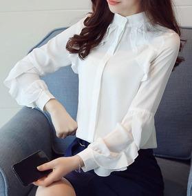 2002619c356939 Blusa Camisa Feminina Babado Social Branco Plus Size Xxg