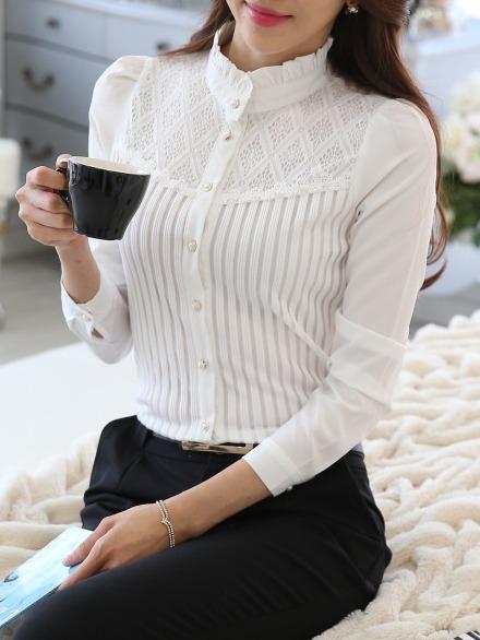 b37bfa6ffed2d4 Blusa Camisa Feminina Babado Social Elegante Plussize Branco