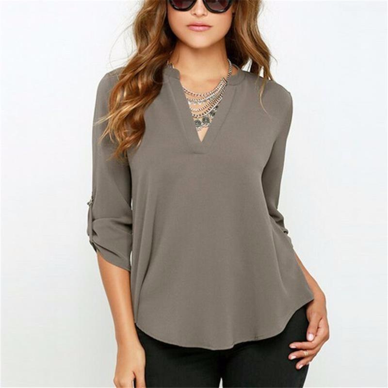 blusa camisa feminina chiffon viscose manga longa