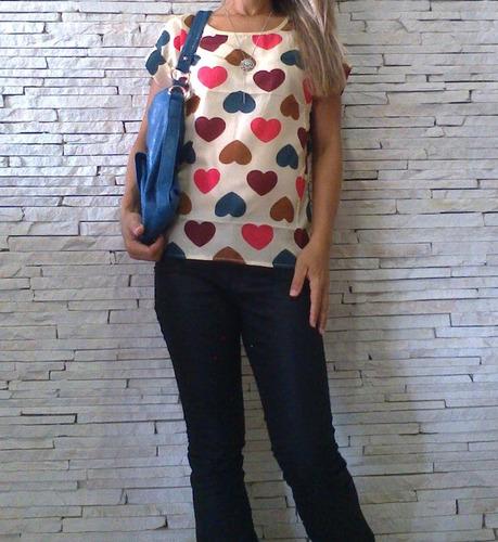 blusa camisa feminina estampa coração chifon. tam p, m e g