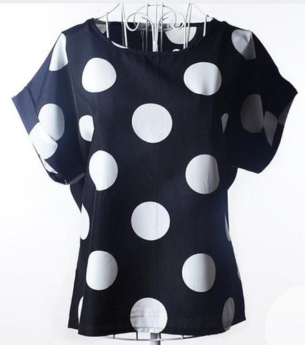 blusa camisa feminina estampa maxxi poá chifon. p, m, g e gg