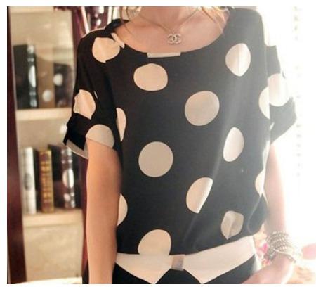 blusa camisa feminina estampa maxxi poá chifon. tam p, m e g