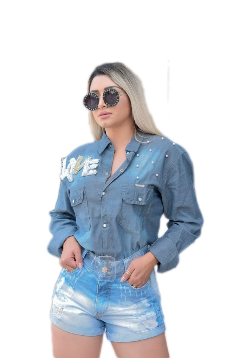f7e22ace94 blusa camisa feminina jeans manga longa pedras bordada. Carregando zoom.