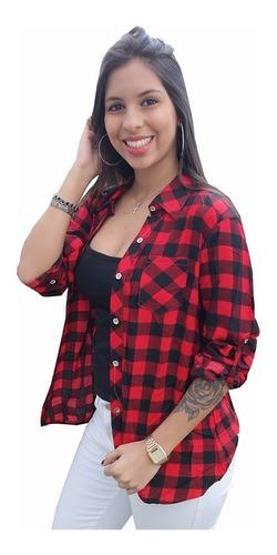 blusa camisa feminina manga longa xadrez viscose tendencia