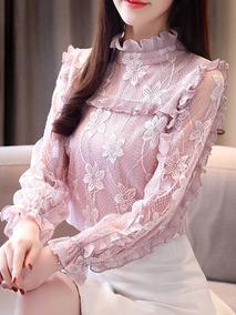 3aee71a2e5 Blusa Elegante Renda - Blusas Feminino no Mercado Livre Brasil