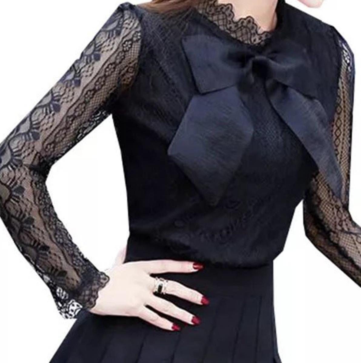 b093fca899 blusa camisa feminina social renda tule de luxo foto real. Carregando zoom.