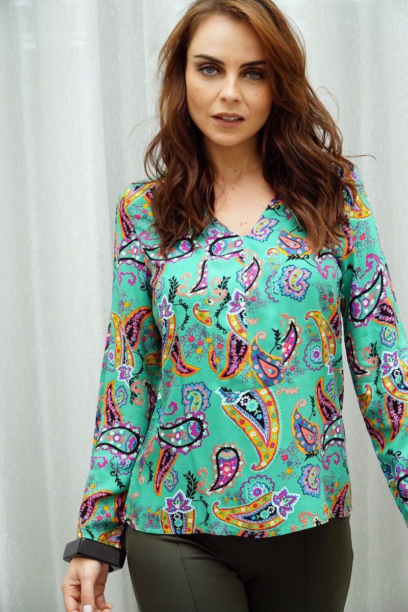909a292054a0 Blusa Camisa Feminina Viscose Estampada Toque De Seda