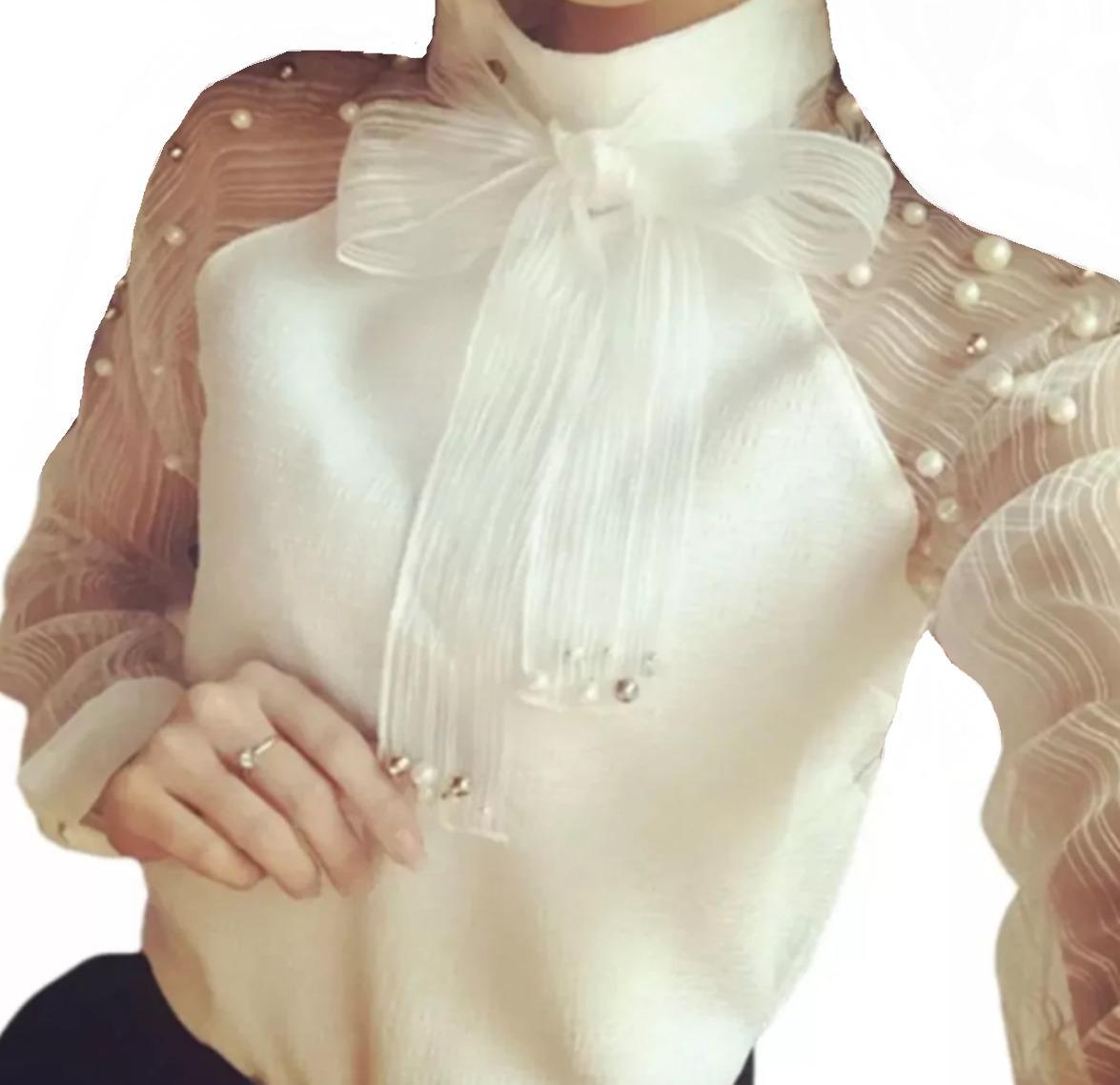 999a85bdad blusa camisa feminino social renda tule de luxo foto real. Carregando zoom.