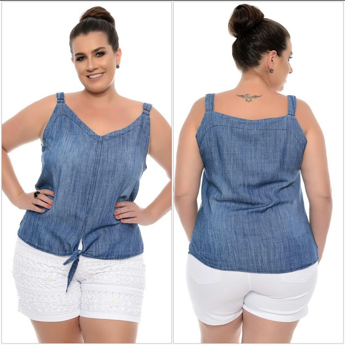 1fb9dc989b blusa camisa jeans fino feminina plus size grande. Carregando zoom.
