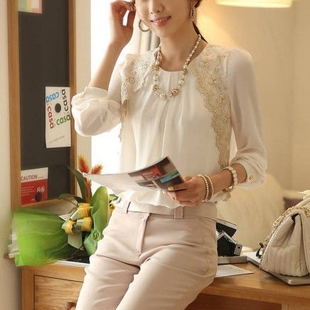 Blanca Mujer Camisa Blusa Encaje Vintage Iq0x05wBp