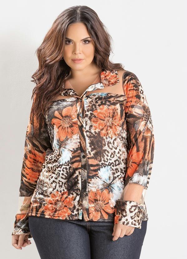 01d6a57d63 blusa camisa plus size manga longa estampada gordinha barato. Carregando  zoom.