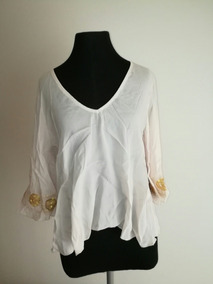 3de4459ce9ab Blusa Camisa Remera Mujer Beige Bordada Talle M .impecable