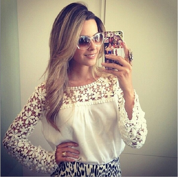 8c7844a6ec Blusa Camisa Renda Camisa Branca Blusa Branca Frete Gratis - R  83 ...